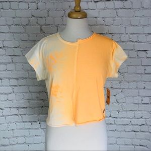 Free People Crop Top Tie-Dye Orange White Reef Tee